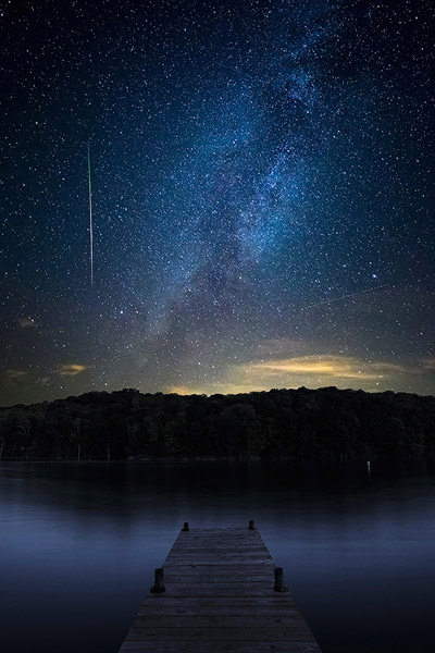 Perseid over Brookville Lake